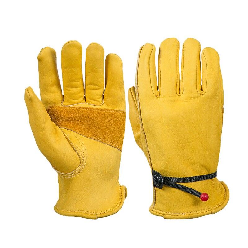 Żółte Skórzane Rękawice Spawalnicze Bezpieczeństwa Ciepła i Odporność Na Przecięcie Rękawice Bezpieczeństwa Pracy Rąk Rękawice Ochronne Kierowcy dla Mężczyzn