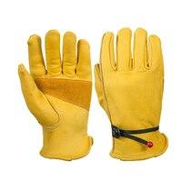Желтая кожа Защитные перчатки сварки тепло и стойкость к порезам Детская безопасность рабочие перчатки рук Защитные драйвер Прихватки для ...