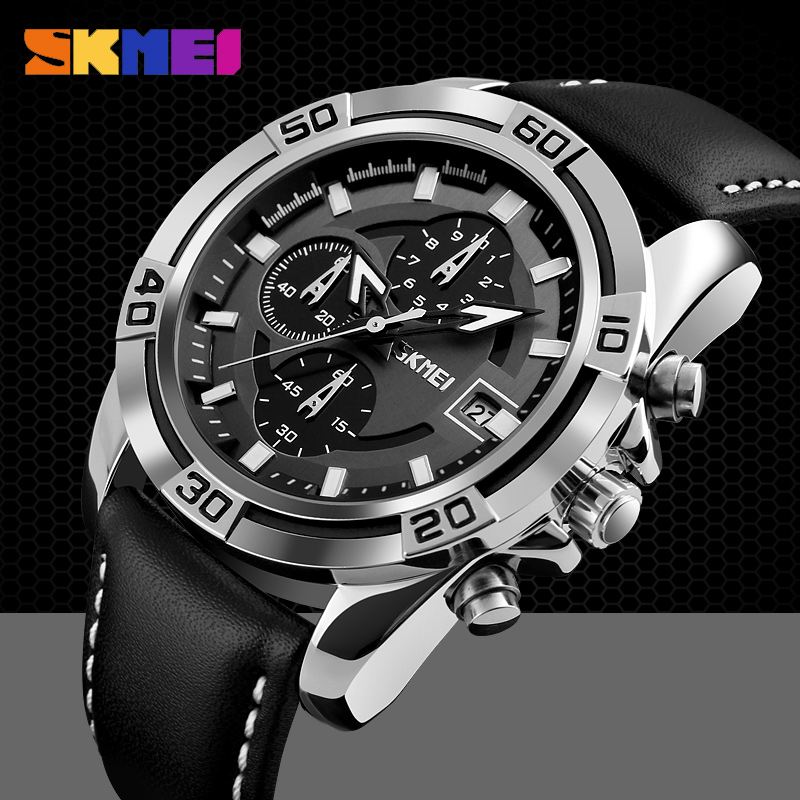 SKMEI Fashion Watch Men Leather Top Luxury Military Quartz Wristwatches Waterproof Outdoor Sports Watches Relogio Masculino 9156 skmei 6911 womens automatic watch women fashion leather clock top quality famous china brand waterproof luxury military vintage