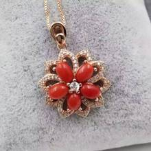 natural red precious coral pendant S925 silver Natural gemstone Pendant Necklace trendy Elegant  Fire wheel women fine jewelry