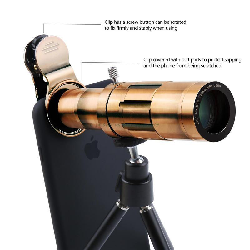 Universal 20X Zoom 4 K HD equipo de lente de la cámara del teléfono telefoto enfoque Manual lente óptica telescópica para Sony para Huawei para Galaxy S9 - 4