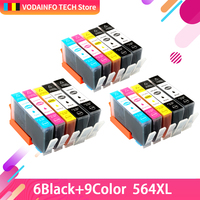 QSYRAINBOW For hp564 Refillable Ink Cartridge for HP 564 XL For HP C309a 5510 6510 B209 C310a C310b C310c C410a C410b With chip