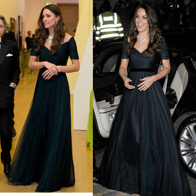 Kate Middleton Celebrity Dresses Navy Blue A Line Chiffon Formal Dress With Short Sleeves Elegant Evening