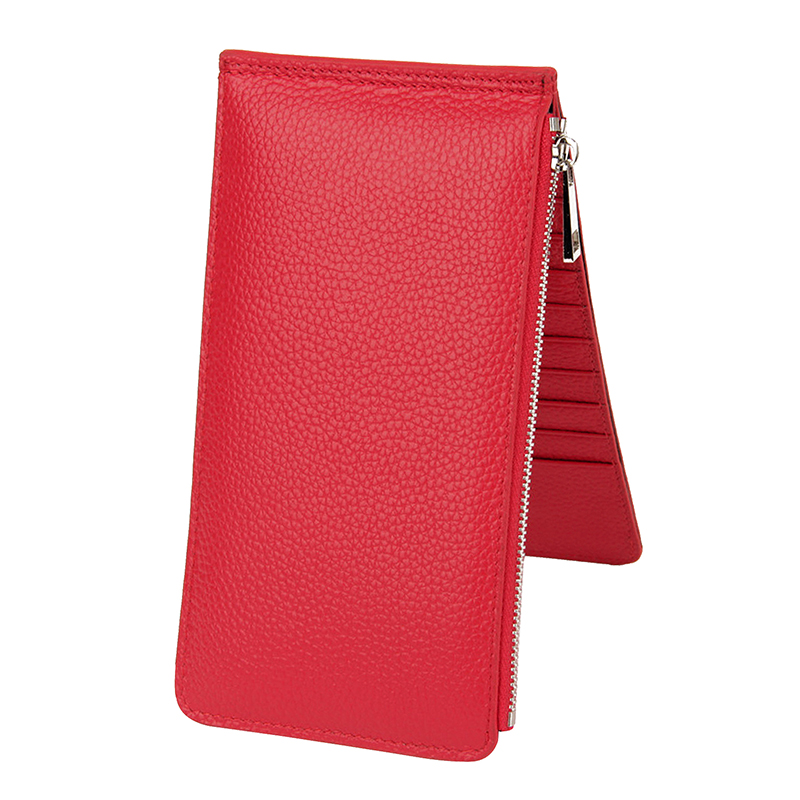 High Quality Thin Purse Womens Genuine Leather Bifold Long Purse RFID 20 Card Solts Wallet Ladies Phone Case Female Carteira