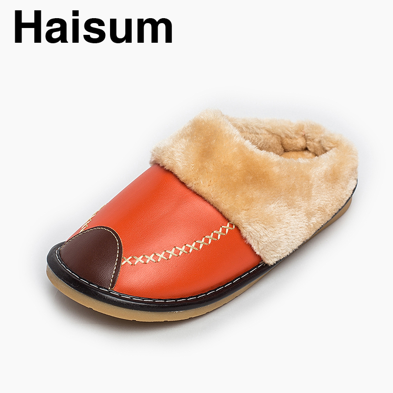 Ladies Slippers Winter Pu Leather Thick With Plush Home Indoor Non-slip Thermal Slippers 2018 New Hot Sale Haisum H-8835 plush home slippers women winter indoor shoes couple slippers men waterproof home interior non slip warmth month pu leather