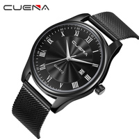 CUENA Mens Watches Top Brand Luxury Stainless Steel Waterproof Quartz Wristwatches Relogio Masculino Relojes Fashion Male