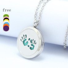 Round Silver hands  30mm Perfume box glass lock Stainless Steel Locket Diffuser Pendant 10pcs(Free Pads)
