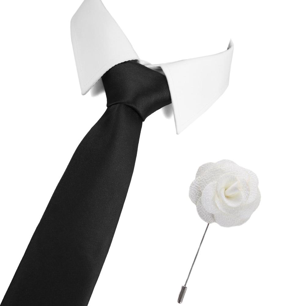 Free Shipping Mens New 7.5cm Classic Silk Ties Fashion Solid Black Ties Wedding Party Neck Ties Brooch Set