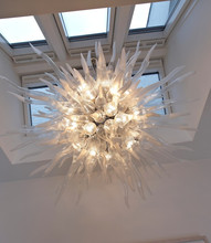 Fancy Creative Decration Home Stair lighting Project White Glass Chandelier Lamp