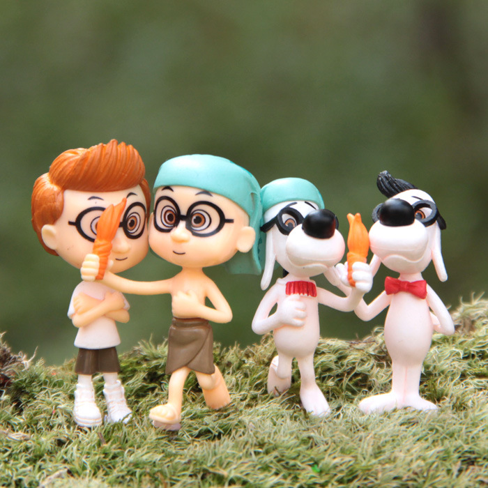 4Pcs/set 3cm Cute Mr Peabody & Sherman cute doll ornaments model Landscape Action Figure Toy collection cartoon decoration gift
