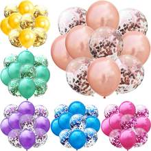 10 Stks/partij Mix Rose Gold Confetti Ballonnen Verjaardagsfeestje Decoratie Kids Adult Metallic Ballon Helium Bal Wedding Party Decor(China)