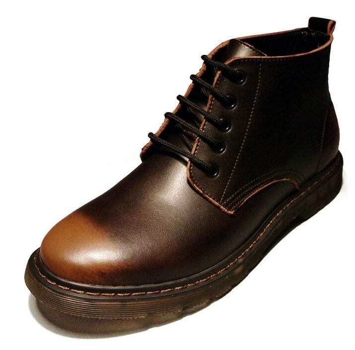 Baixo Salto Ankle Cânhamo cinza Moda Curto Preto De Corda Homens Grãos Botas Boots Cheios 1226 marrom Retro Primavera Real Couro Outono Lace Up wzSqOY0Ox
