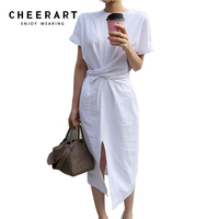 Cheerart Summer Wrap Dress Women Loose Simple Casual Long Side Split Bandage White/Green/Brown Korean Dress 2017 Robe Femme