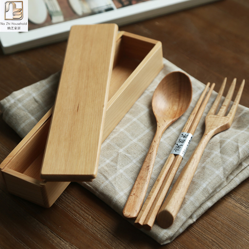 Nazhi 3pcs solid beech wood kitchen tablewares wooden case for Kitchen kit set