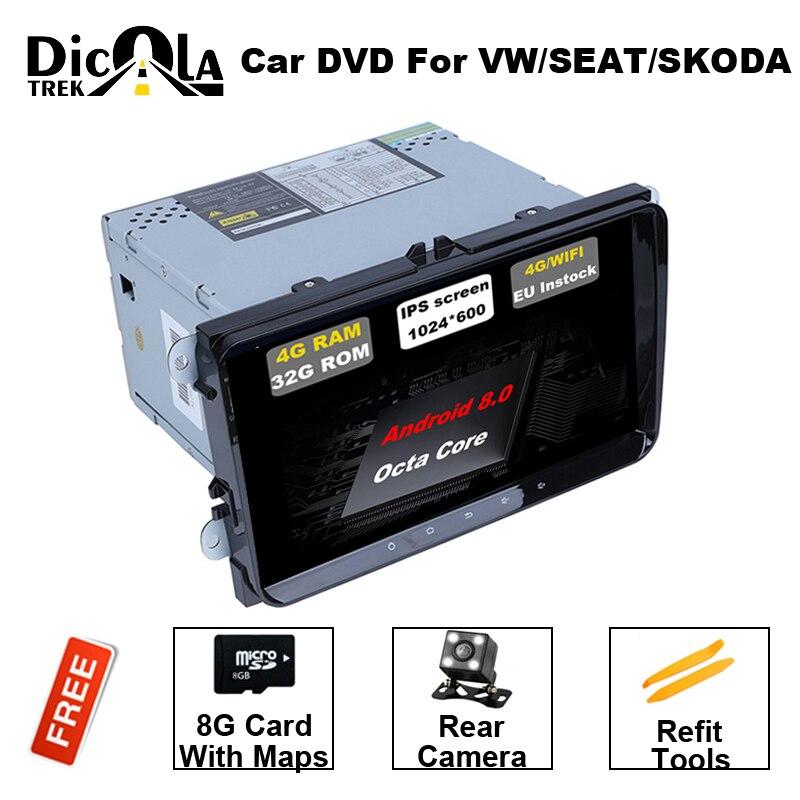 Android8.0 2 Din 9 pouce Lecteur DVD de Voiture Pour VW/Volkswagen/POLO/PASSAT/Golf/Skoda /siège/Fabia Avec Wifi Radio RDS GPS Bluetooth Carte