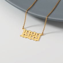 купить Personalized Necklace for Her 1999 Old English Number Necklaces Custom Jewelry Custom Old English Number Necklace Gold Chain по цене 131.34 рублей