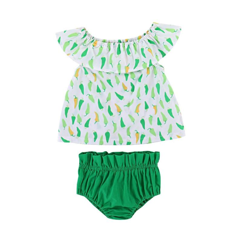 2pcs/set Summer Fashion Baby Girls Clothes Set Pepper Print Toddler Kids Ruffle Off Shoulder Top + Elastic Waist Shorts