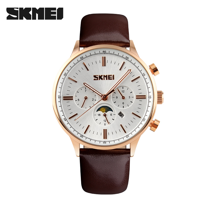 SKMEI Fashion Watches Men Business Quartz Wristwatches 30M Waterproof Casual Leather Brand Casual Men's Watch Relogio Masculino skmei brand fashion men s business watch full steel casual quartz dress watches luxury calendar waterproof wristwatches 9069