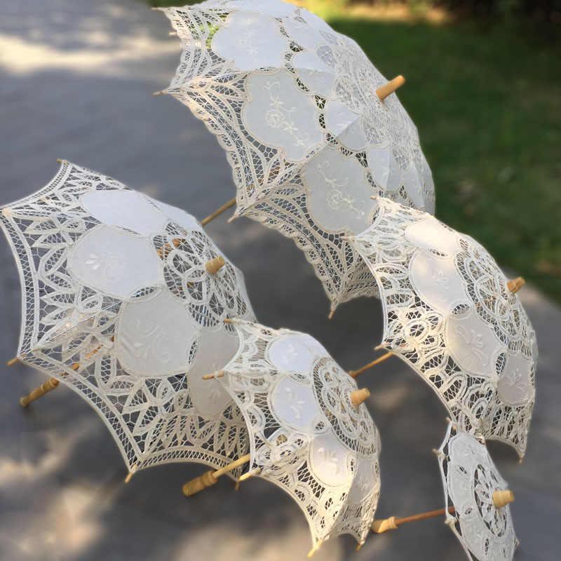 اليدوية الفيكتوري موضوع حزب دش الزفاف الجدول الشاي حزب الأبيض البيج 10 قطعة مجموعة الديكور الدانتيل مظلة واقية من الشمس مجموعة