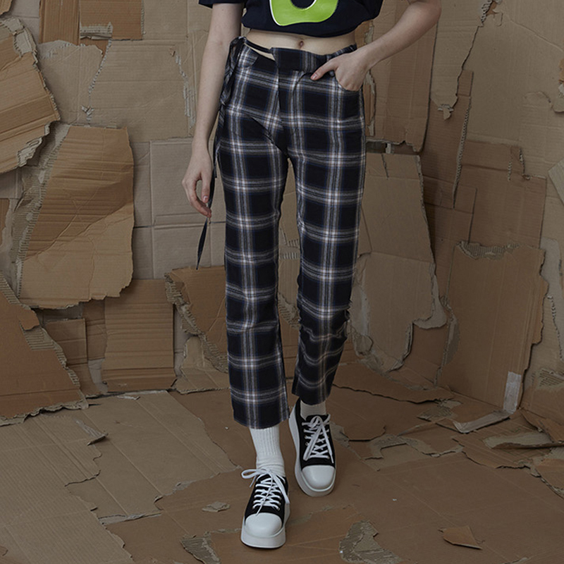Women Pants 2018 Black Pink Lisa Same Style Plaid Ankle-length Casual Pants Kpop Star Harajuku pantalon ropa mujer verano