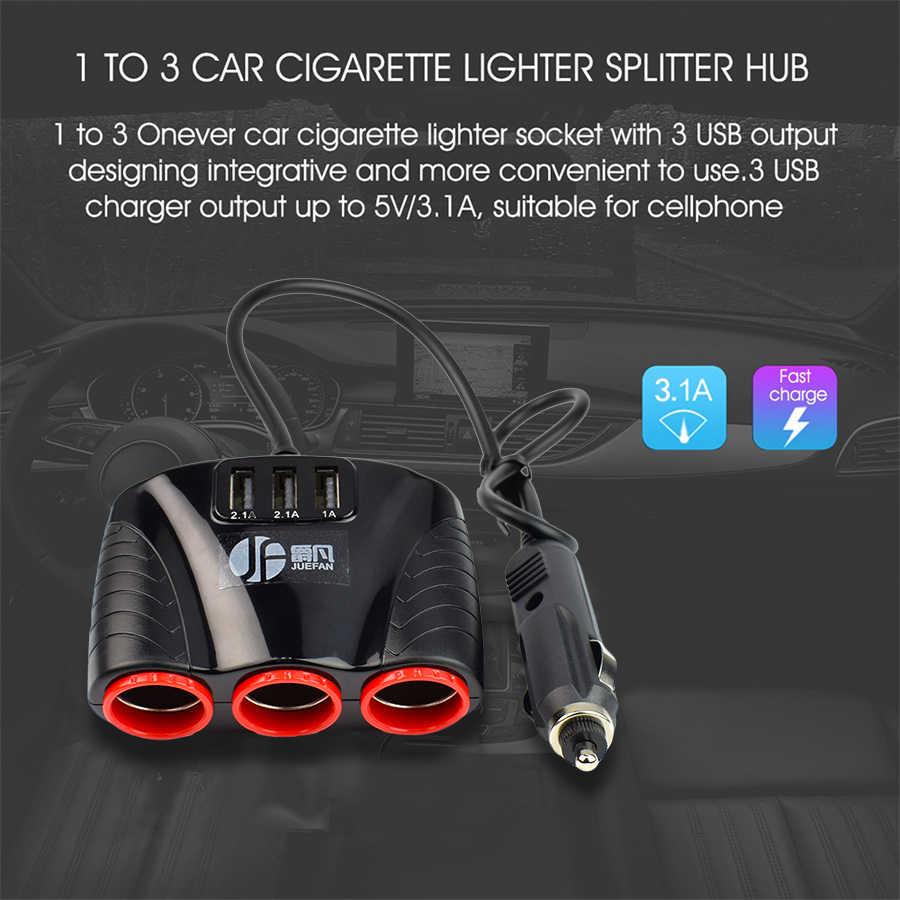 新シガーライターで 3 3.1A 車スプリッタシガーライターで USB + 3 ポートハブ電源アダプタ DC 12 v-24 V gps DVR または Ayfon