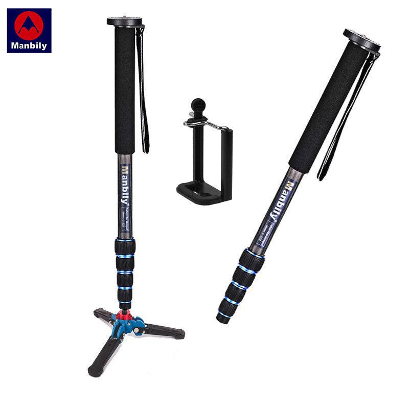 Manbily C-222 Carbon Fiber Camera Monopod With M13 Legs Stand Base 3/8screw Professional Mini Tripod For Canon Nikon DSLR Phone manbily cz 305 professional carbon fiber tripod for camera can changed monopod ball head 3 colors are optional free ship by dhl