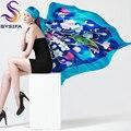 Cuadrado grande de la Bufanda de Seda 2015 Nuevo Diseño de Seda de Mora de la Bufanda Envuelve 110*110 cm de Las Mujeres Brillantes Grandes Bufandas Del Mantón Rosa oscuro, Azul