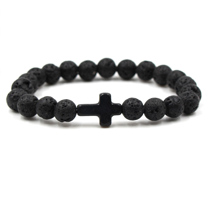 8 Kleuren Cross Charms 8mm Zwarte Lava Kralen Armband Essentiële Olie Parfum Diffuser Armbanden Stretch Yoga Sieraden Verfrissing