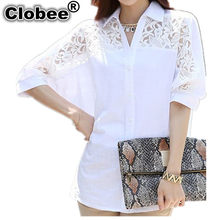 Clobee Korean Midi White Elegant Blouses Stand Batwing Full Sleeve White Tunic Lace Clothing High Street blouse camisa feminina(China)