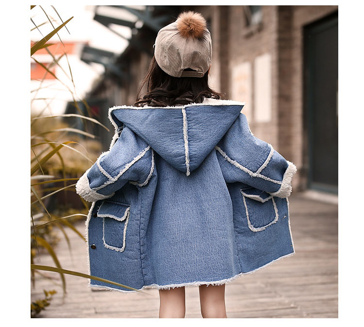 long thick denim trench coats for teenage girls long fleece hooded jeans jackets kids tops clothing children winter outerwears (7)
