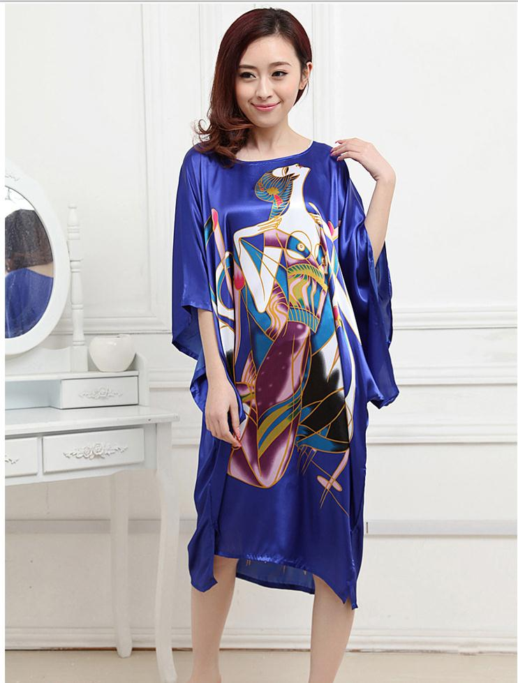 Stylish Blue Chinese Lady Summer Nightshirt Silk Rayon Bath Robe Gown Loose Casual Home Dress Vintage Nightgown One Size A117