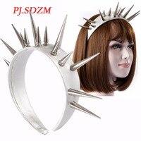 PJ.SDZM Cool Punk Overlength Rivet Leather Hairband T Stage Hottest Headband Night Club Hair Accessory Hip Hop Star Headwer