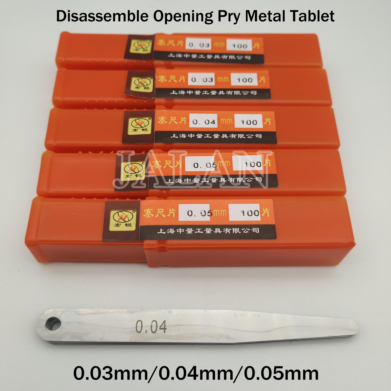 100pcs/lot Professional Disassemble Metric Feeler Gauge 0.03mm/0.04mm/0.05mm for phone repair Measurements Tools|Phone Repair Tool Sets| |  - title=