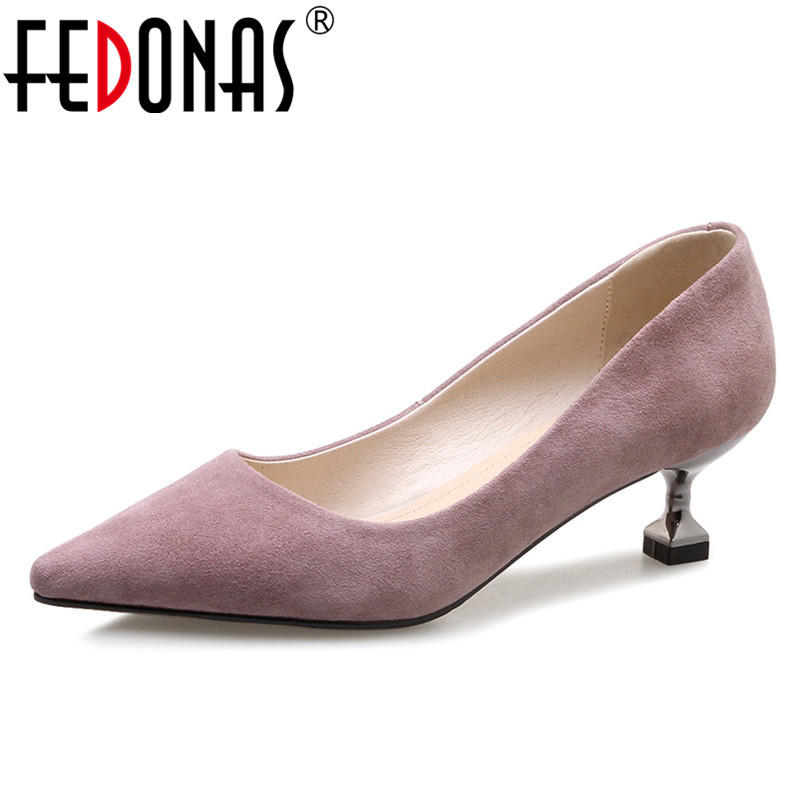 FEDONAS OL Office Lady Shoes Suede Leather High Heels Party Pumps Woman Pointed Toe Fashion Dress