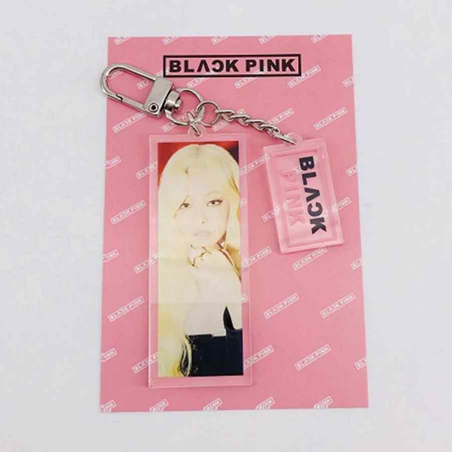 Kpop Blackpink Acrylic Keychain LISA JENNIE ROSE Figure Keyring Lanyard Key Chain For Girls inspirational jewelry Gifts
