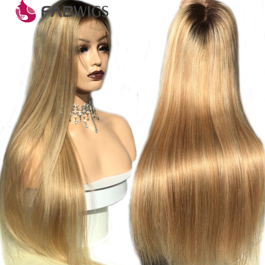 Fabwigs Lemi Color Ombre Blonde Lace Front Human Hair Wigs 180 T4 27 613 Transparent Lace