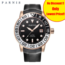 42mm Men Watch Parnis Sapphire Rotating Rose Gold Bezel Black PVD Case Automatic Watches Luminous Miyota 821A Mens Mechanical