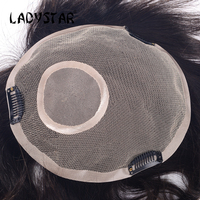LADYSTAR Remy Human Hair Piece Straight Hair Top Piece With Clip in Full Hand Made Natural Color