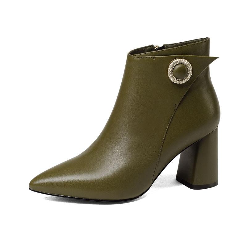 Bottes Chaussures Cheville Green Hiver Smeeroon Zip Automne Femmes Vache Véritable Haute Bout Pour De Cuir Dames Super Talons En Pointu Noir À La army 5R5Ew