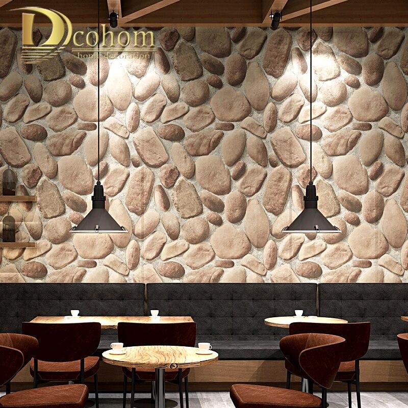 Pvc Beige Brown Grey 3d Stone Wallpaper For Living Room
