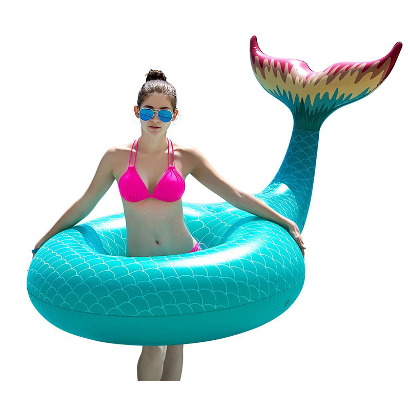 175cm Giant Mermaid Inflatable Swimming Ring Ride-on Pool Float Adult Children Water Floats Beach Party Toys Air Mattress boia
