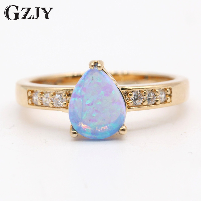 gzjy new fashion ring teardrop blue fire opal zircon gold color ring for women trendy engagement - Teardrop Wedding Rings