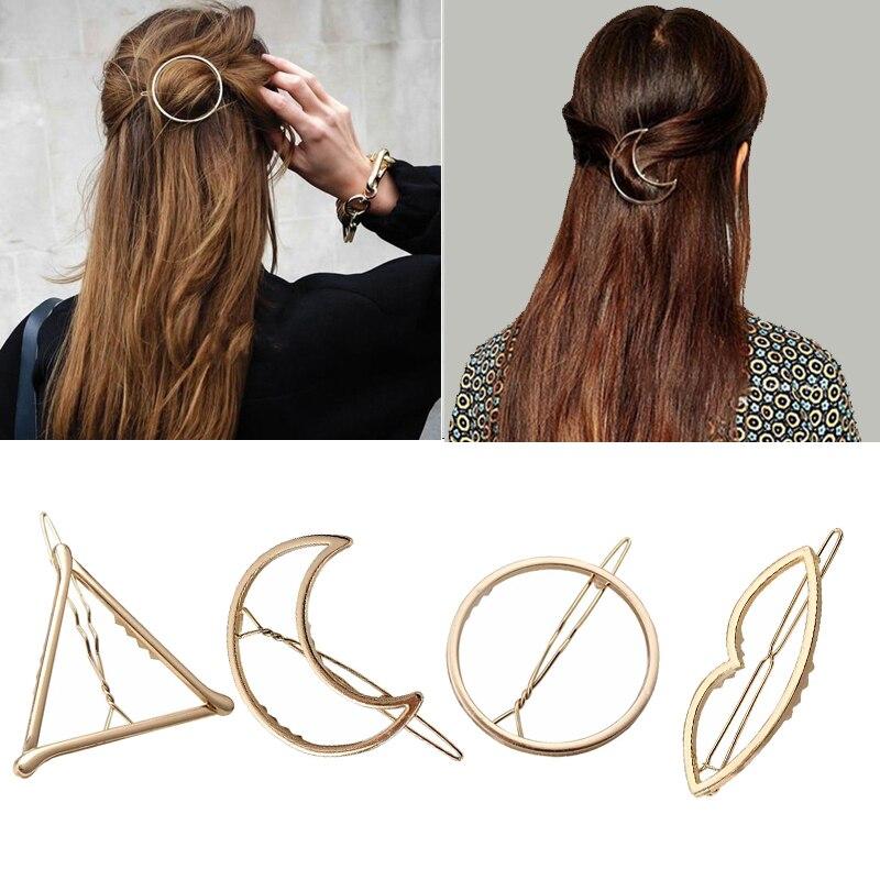 Fashion Women Hair Accessories Triangle Hair Clip Girls Hairpins Metal Geometric Alloy Headdress Circle Hairgrip Barrette Holder