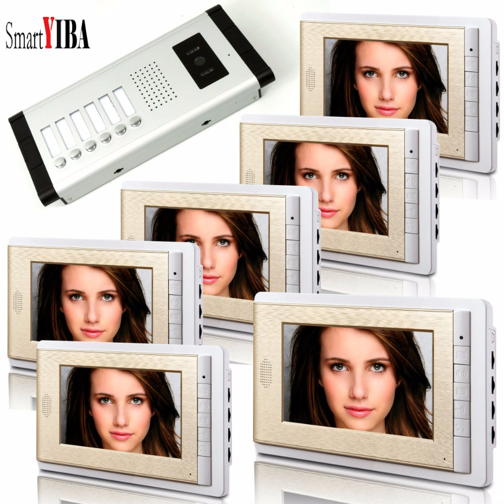 SmartYIBA Video Intercom 7''Inch LCD Wired Video Door Phone Doorbell Speakerphone Intercom Camera Monitor System For 6 Units 7 inch video doorbell tft lcd hd screen wired video doorphone for villa one monitor with one metal outdoor unit night vision