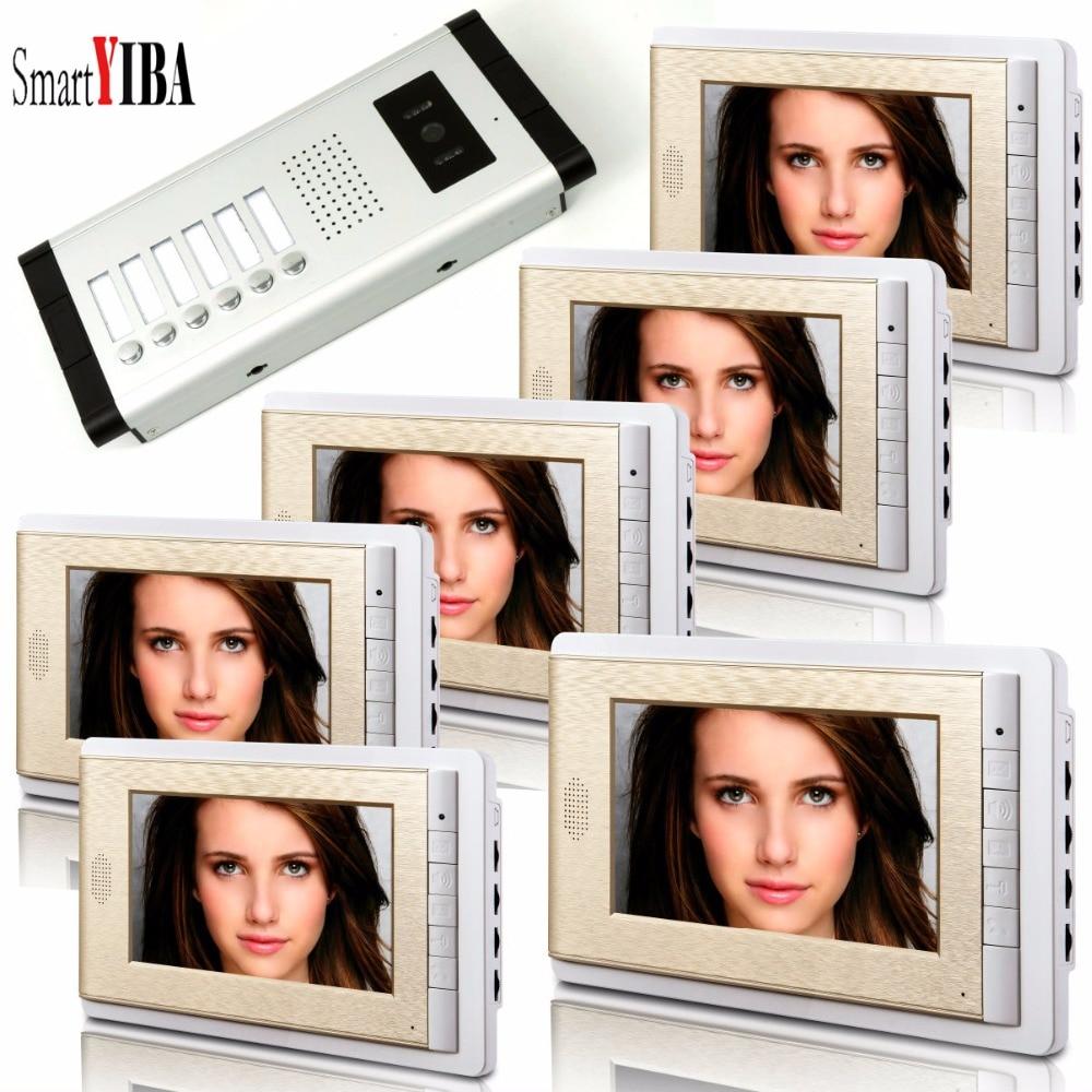 SmartYIBA Video Intercom 7''Inch LCD Wired Video Door Phone Doorbell Speakerphone Intercom Camera Monitor System For 6 Units