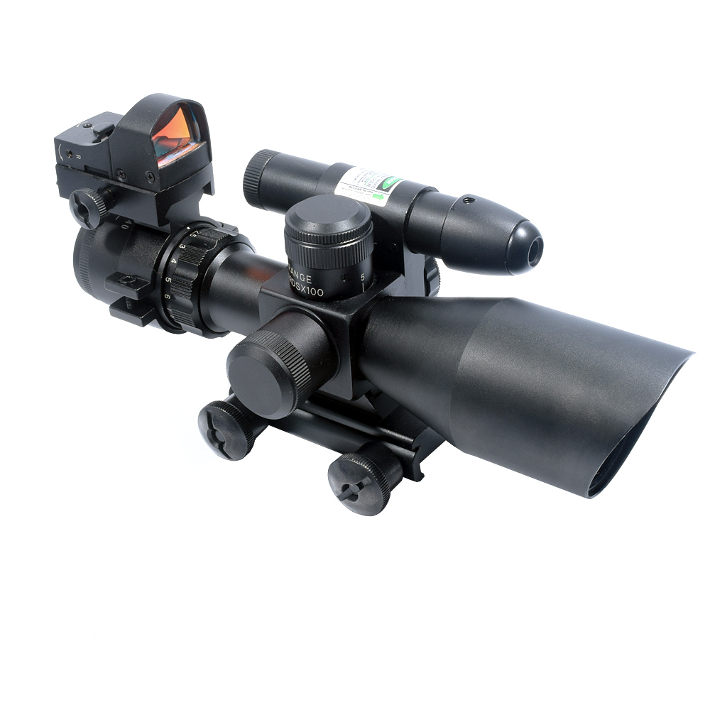 2.5-10x40 Tactical Rifle Scope Dual Illuminated Mil-dot W/RED(GREEN) Light Sight, Rail Mount and 4 Reticle Red/Green Dot Reflex 2 5 10x40 air rifle scope reticle red green dot mil dot dual illuminated sight with red laser w rail mount airsoft gun hunting