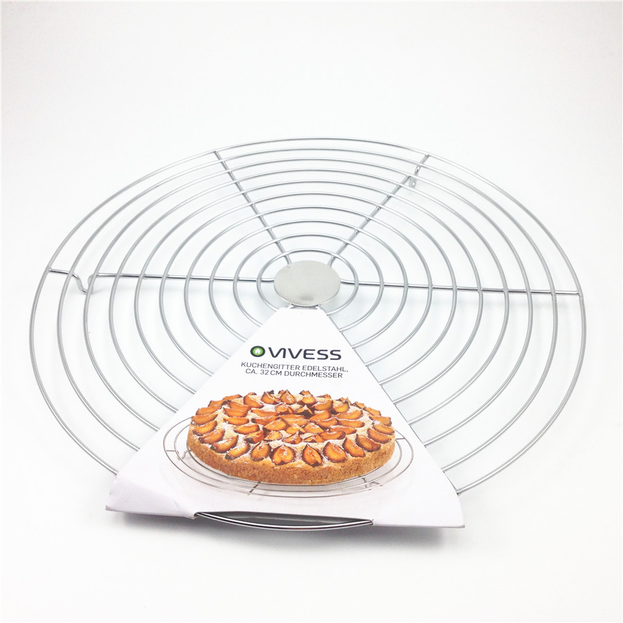 32CM Stainless Steel Cake Cooling Rack Bake Wire Cooling Grid Holder Baking Tray for Bread Biscuits Cupcakes Cookies Cakes <font><b>Tools</b></font>