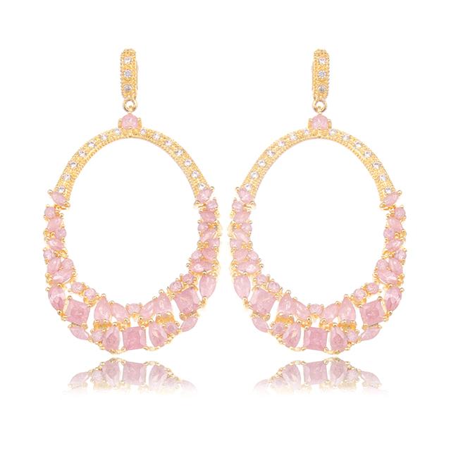 2016 New Arrival Ouro Zircon Gota Longo Brincos Embutimento Rosa CZ Cristal Brincos Moda Jóias Brincos Boucle d'oreille WE121
