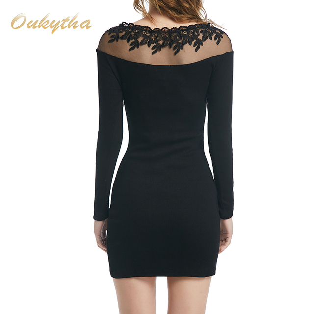 Women's long sleeve Shirt Sexy Lace dress Patchwork Pencil Black Dress Women Work Wear Dress Elegant Formal Office Dress T15098