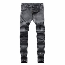 HOT 2019 Fashion men's jeans men snowflakes Ripped hole locomotive fold jeans feet Leg Zipper Distressed hip hop street trousers street style narrow feet hole cat s whisker embellished zipper fly fitted jeans for men